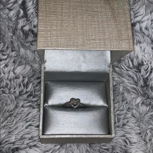 Zales 10k white gold and diamond heart knot ring